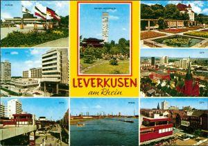 Ansichtskarte Leverkusen Forum, Bayer-Hochhaus, City, Rhein, Garten 1973
