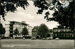 Ansichtskarte Groß-Gerau Marktplatz mit Stadthaus und Ortskrankenkasse 1960