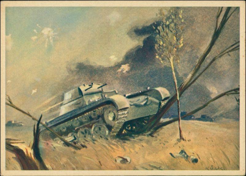Ansichtskarte  Künstlerkarte 2. WK - Panzer im Einsatz 1940