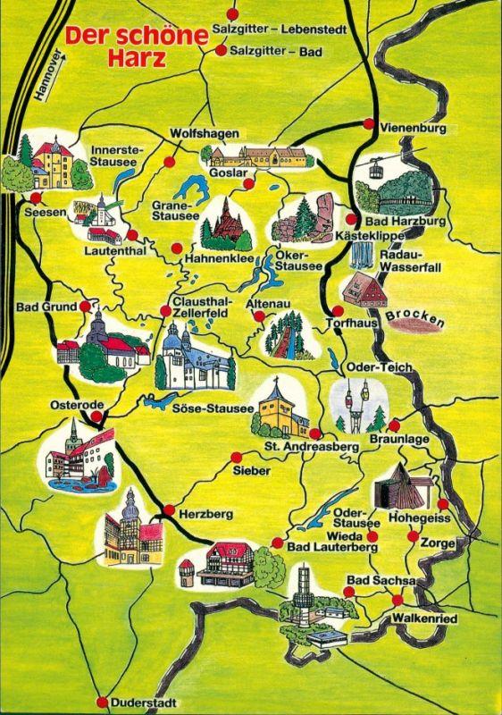 Niedersachsen Karte Mit Städten.Ansichtskarte Niedersachsen Der Schöne Harz Karte Mit Den Städten 1989