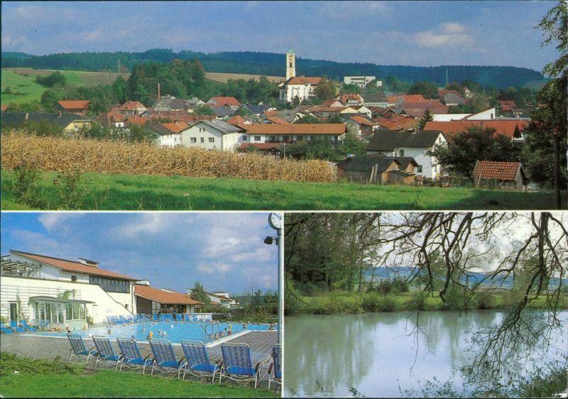 Ansichtskarte Bad Birnbach Panorama mit Kirche, Schwimmbad, Uferbereich 1992