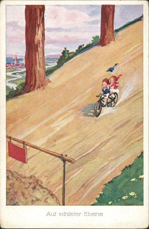 Ansichtskarte  Scherzkarten - Auf schiefer Ebene - Zwerge 1923