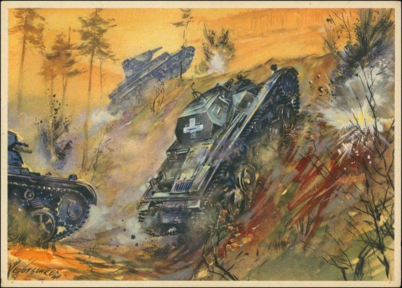 Künstlerkarte WK2 Militaria - Panzerkampfwagen beim Angriff 1940
