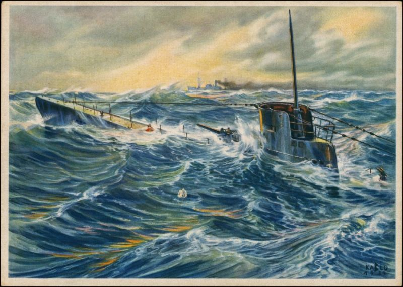 Ansichtskarte  Künstlerkarte WK2 Militaria U-Boot 1940