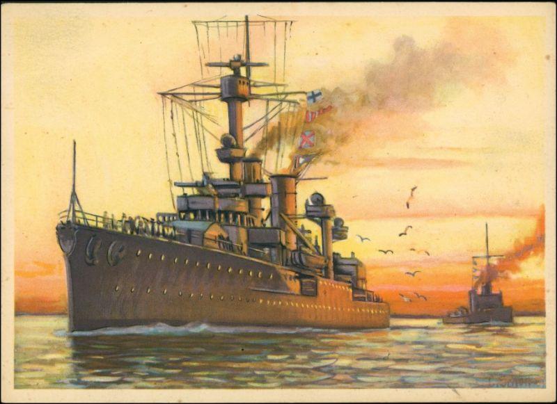 Ansichtskarte  Künstlerkarte WK2 Militaria Kreuzer Königsberg 1940