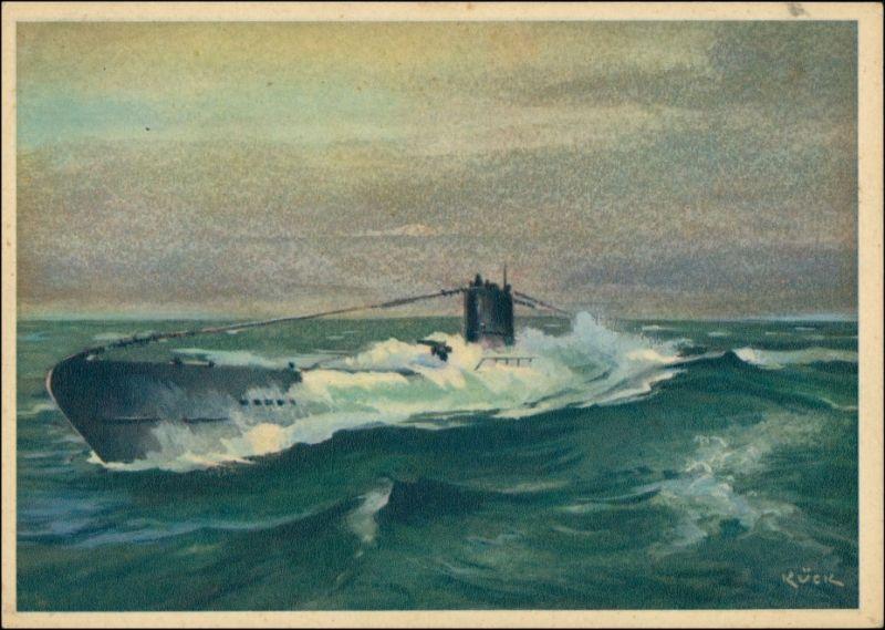 Ansichtskarte  Künstlerkarte WK2 Marine Militaria U-Boot 1940