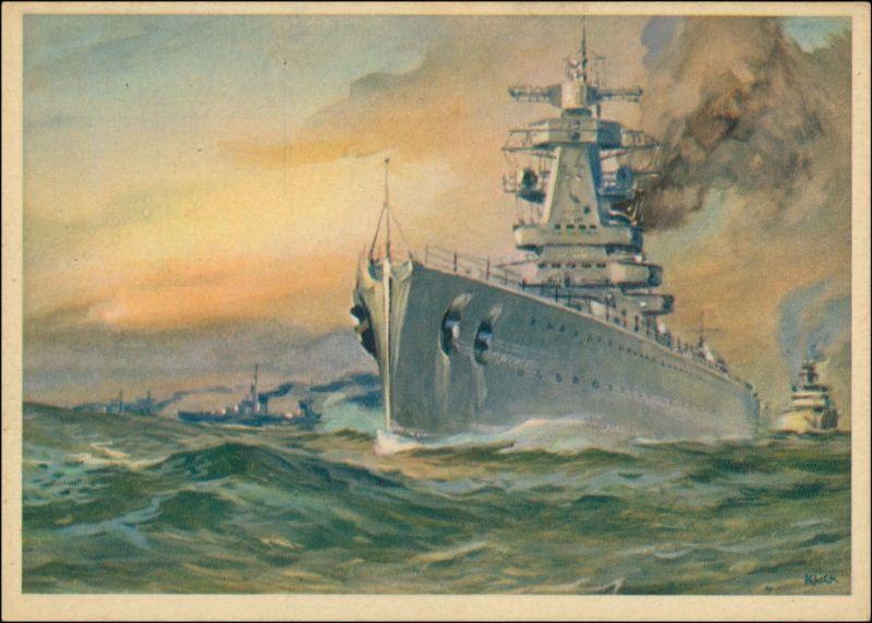Ansichtskarte  Künstlerkarte WK2 Militaria Kriegsschiffe 1940