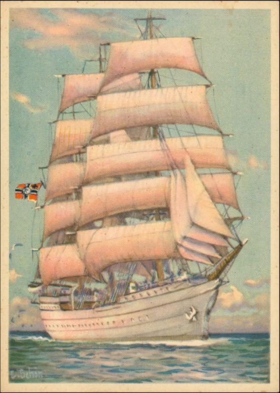 Ansichtskarte  Künstlerkarte WK2 Marine Gorch Fock Segelschiff 1940