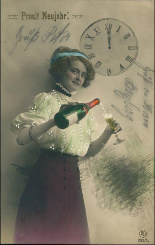 Foto coloriert Frau mit Sekt Glückwunsch - Neujahr/Sylvester 1914
