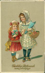 Glückwunsch/Grußkarten: Geburtstag Goldrand Mädchen 1908 Goldrand