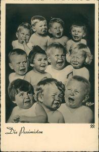 Ansichtskarte  Schreiende Babys - die Pessimisten, Scherz-Künstlerkarte 1932
