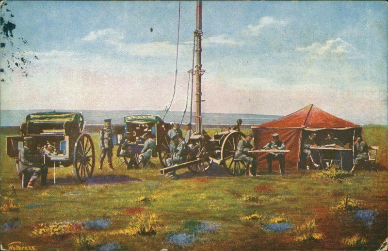 Ansichtskarte  Schwere Funkerstation - Erster Weltkrieg, WK1 1917