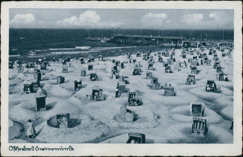 Postcard Swinemünde Świnoujście Seebrücke - Strand 1928
