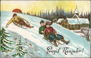 Glückwunsch - Neujahr/Sylvester Schlittenfahrt GOLD-Sonne 1914 Goldrand