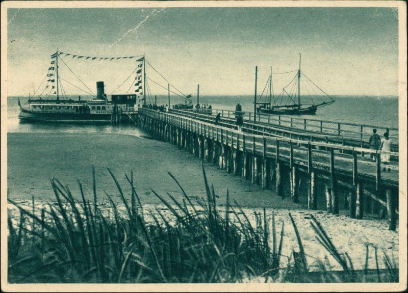 Ansichtskarte Insel Amrum Ankunft des Dampfers 1928