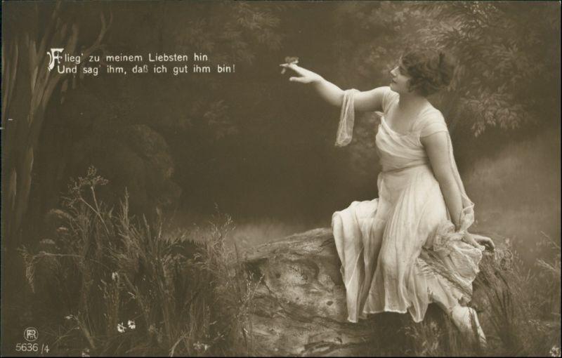 Ansichtskarte  Frau - Erotik, Flieg zu meinem Liebsten 1916