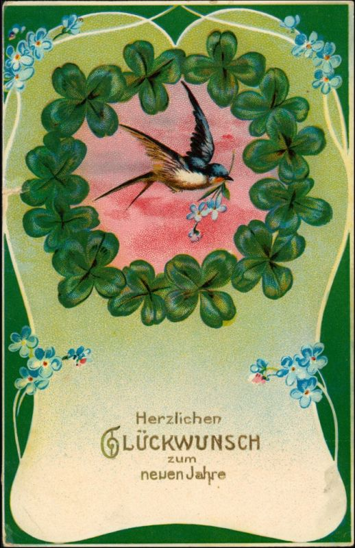 Ansichtskarte  Glückwunsch - Neujahr/Sylvester - Kleeblatt Vogel 1910