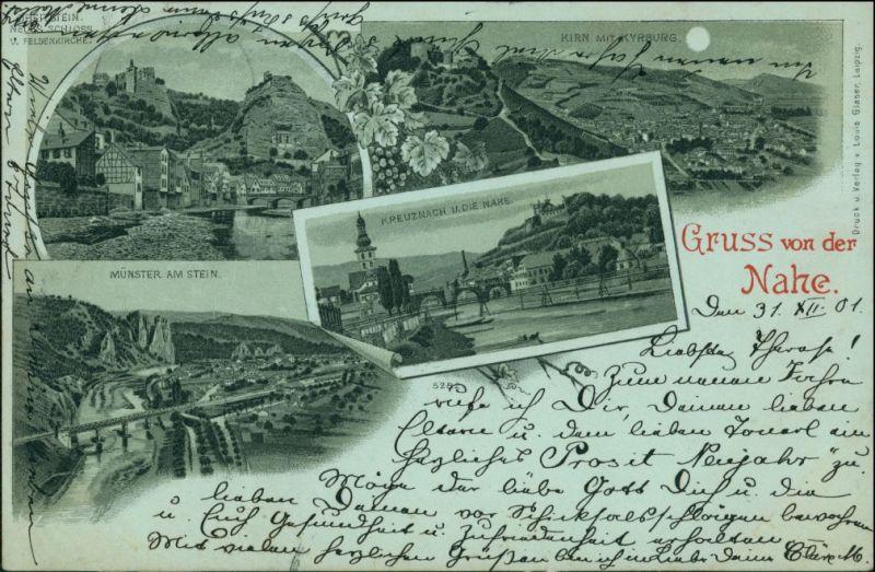 Ansichtskarte Bad Münster am Stein-Ebernburg Litho AK: Kirn, Kyrburg 1897