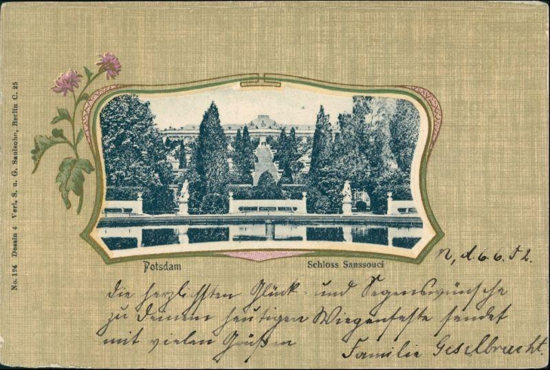 Ansichtskarte Potsdam Künstlerrahen AK: Sanssouci 1902