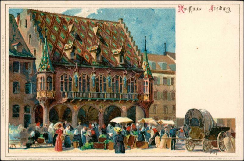 Ansichtskarte Freiburg im Breisgau Neues Rathaus - Künstlerkarte 1911