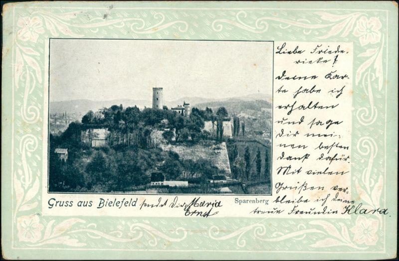 Ansichtskarte Bielefeld Burg Sparrenburg - Ornament 1902 Prägekarte
