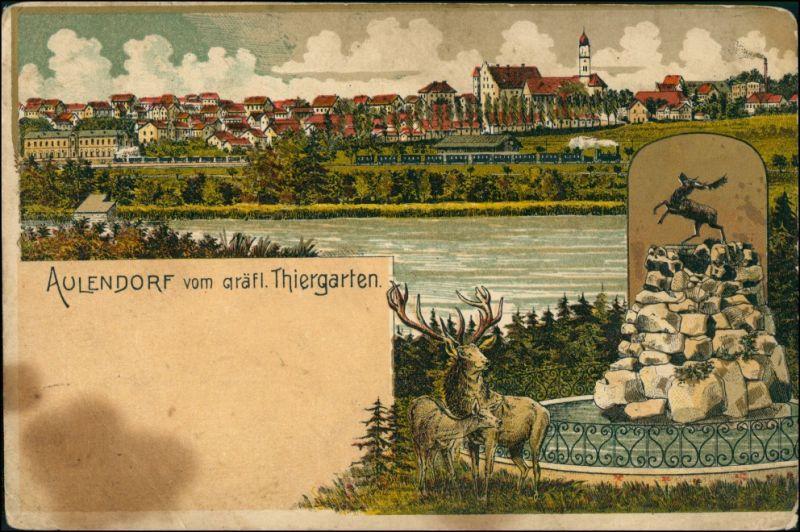 Ansichtskarte Aulendorf Künstlerkarte vom Thiergarten 1913