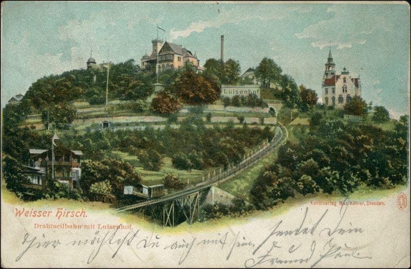 Ansichtskarte Loschwitz-Dresden Louisenhof u. Drahtseilbahn 1908