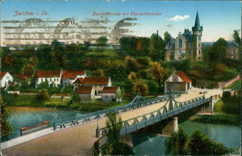 Ansichtskarte Zwickau Paradiesbrücke Ebertschlösschen 1914