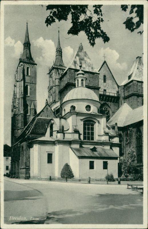 Postcard Breslau Wrocław Partie am Dom 1937
