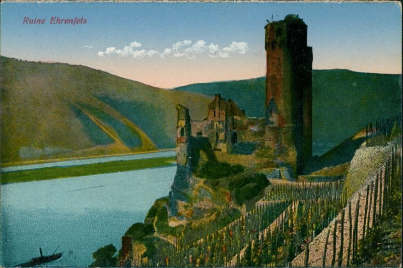 Ansichtskarte Rüdesheim (Rhein) Burg/ Ruine Ehrenfels 1915