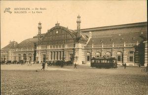 Postkaart Mecheln Mechelen / Malines Bahnhof - Straße 1917