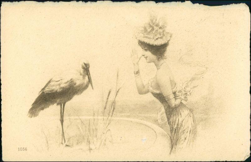 Ansichtskarte  Frau zeigt Storch die