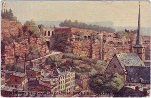 Postcard Luxemburg Bockfelsen mit Unterstadt Grund 1909