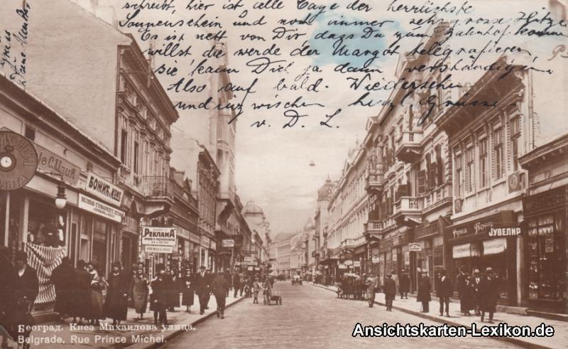 Belgrad Beograd (Београд) Rue Prince Michel (belebt, Geschäfte) 1926