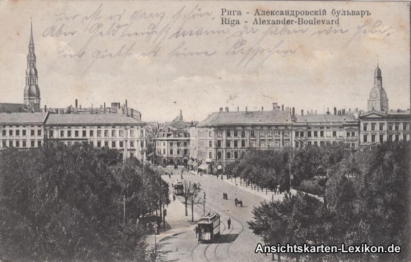 Postcard Riga Rīga Ри́га Alexander-Boulevard 1918