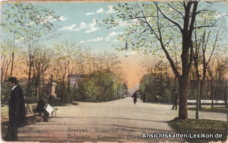 Postcard Belgrad Beograd (Београд) Park Kalemegdan 1918