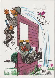 Ansichtskarte Deutschland Karikatur: DDR Soldatentraining 1976
