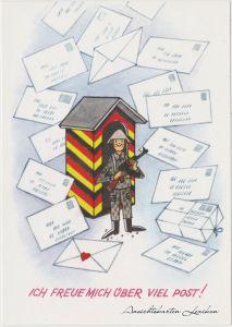Deutschland Karikatur: DDR Soldat im Überstand