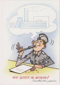 Ansichtskarte Deutschland Karikatur: Wie gehts im Betrieb? 1976