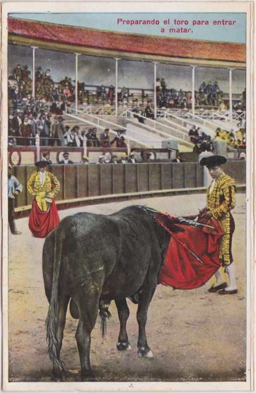 Ansichtskarte  Preparando el toro para entrar a matar/Stierkampf 1928