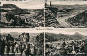 .Sachsen Sächsische Schweiz - Königstein mit Lilienstein, Elbtal, Basteibrücke, Bad Schandau 1960
