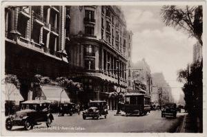 Postcard Buenos Aires Avenida Callao, Autos, Straßenbahn 1935