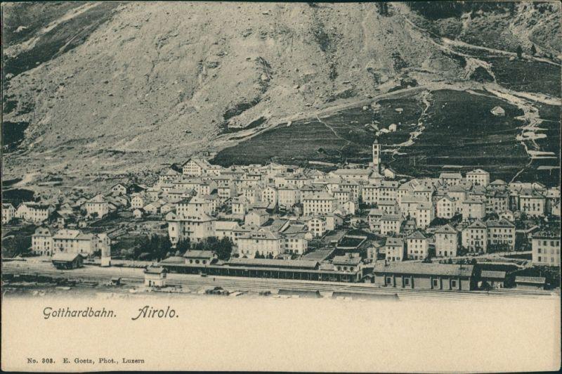 Ansichtskarte Airolo Gotthardbahn - Bahnhof 1914