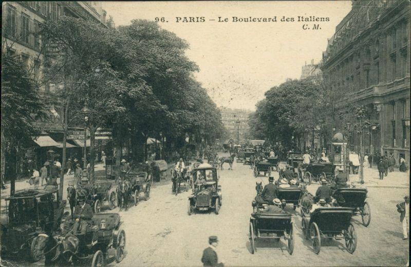 CPA Paris le Boulevard des Italiens 1909