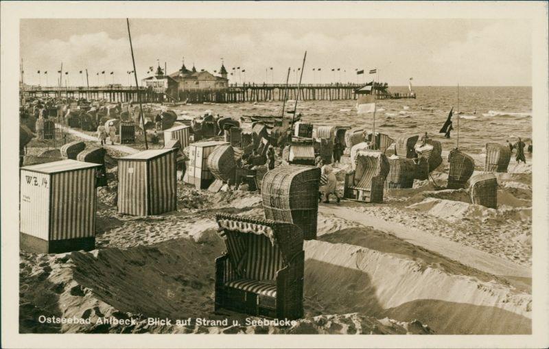 Ansichtskarte Ahlbeck (Usedom) Seebrücke - Strandleben 1934