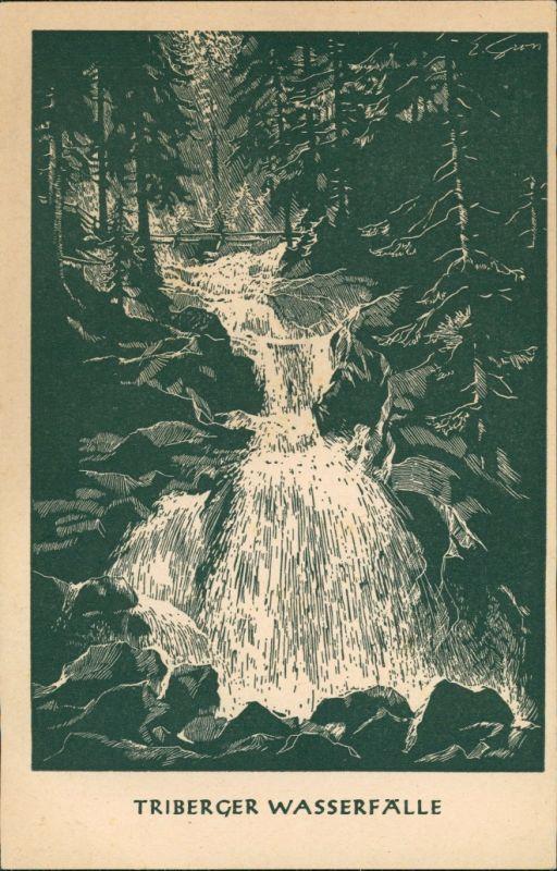 Ansichtskarte Triberg im Schwarzwald Künstleransichtskarte Schwarzwald Eintritskarte 1928 0