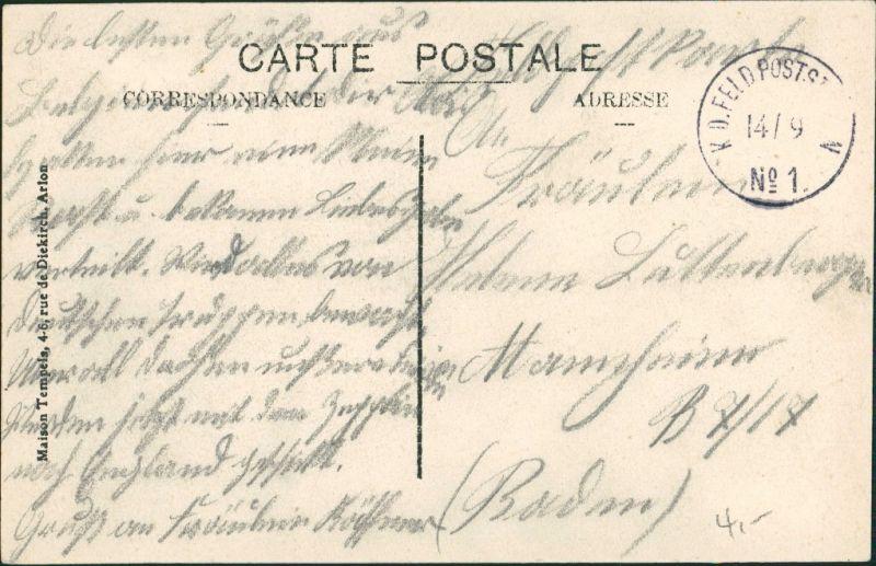 Postkaart Arlon Arlen Hotel du Gouvernment 1914 1