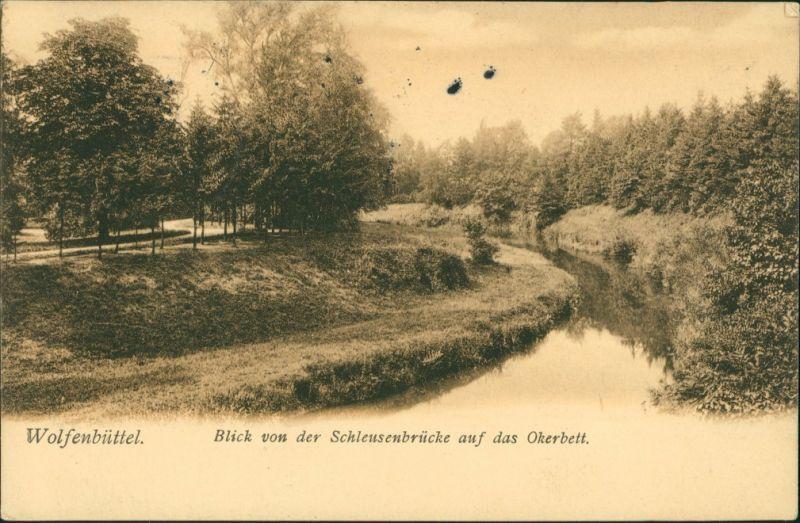 Wolfenbüttel Blick von der Schleusenbrücke auf das Okerbett 1906 0