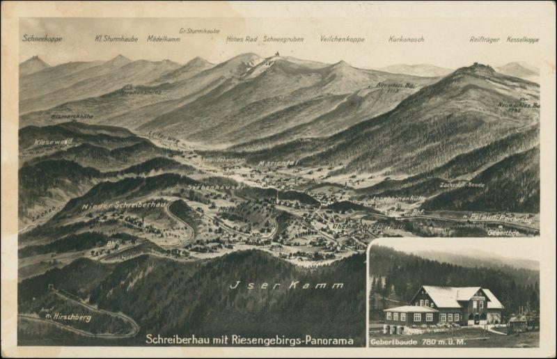 Postcard Schreiberhau Szklarska Poręba 2 Bild: Relief, Gebertbaude 1929 0