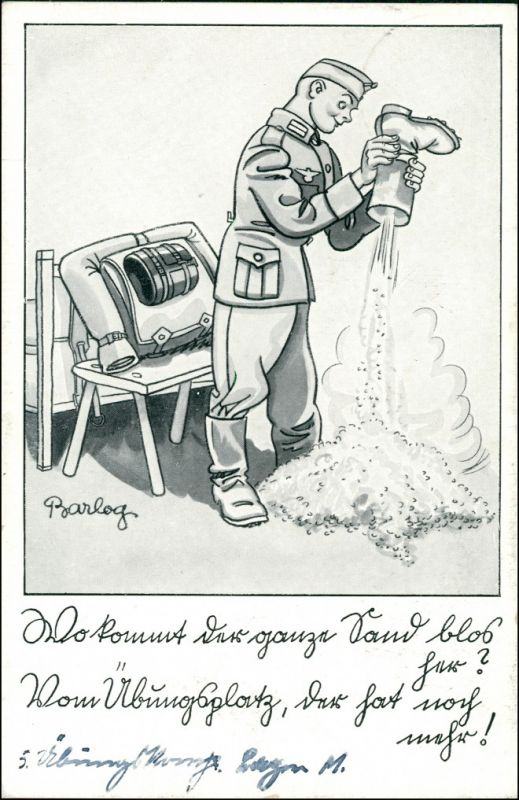 Ansichtskarte  Scherzkarte, Soldat mit Stiefel 1939 0